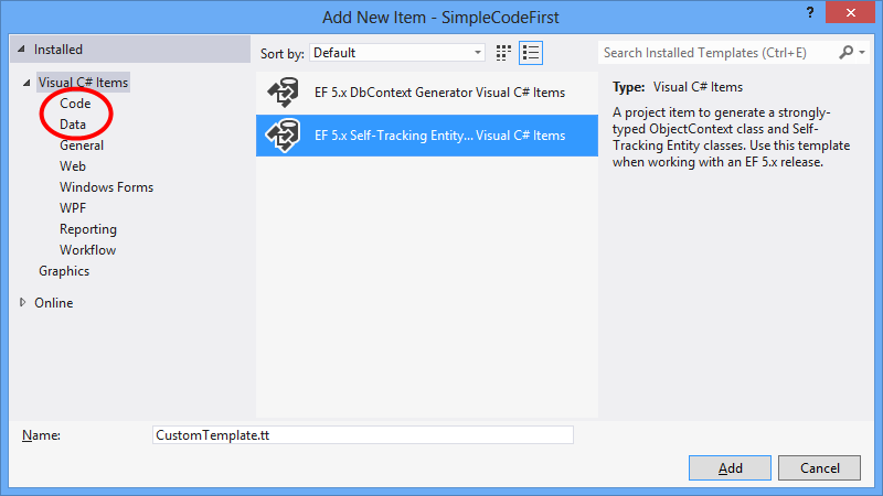 Designer code generation templates ef6 microsoft docs if youve already installed the template you want to use or it was included in visual studio then it will be available under either the code or data maxwellsz