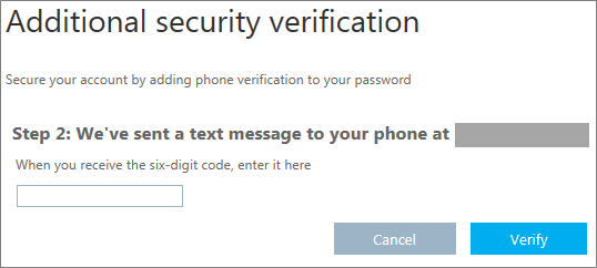 Screenshot asking user to enter the code that was texted to them