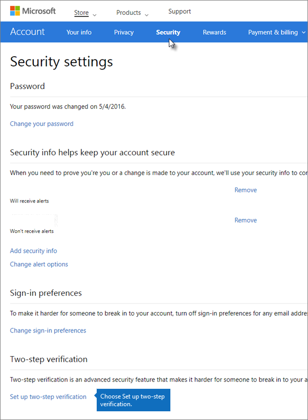 on the security settings page choose set up two step verification