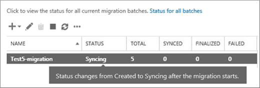 Migration batch is syncing