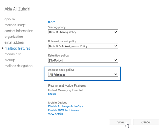 Assign an address book policy to users in Exchange Online
