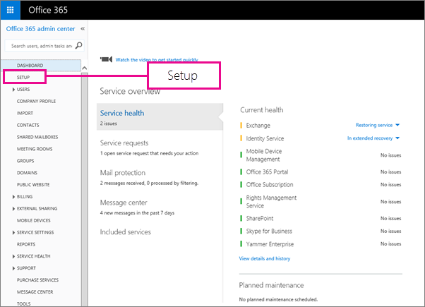 Manage all mailboxes and mail flow using Office 365