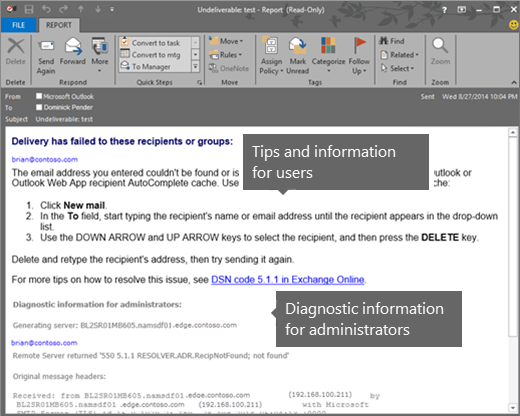 Email non-delivery reports in Exchange Online | Microsoft Docs