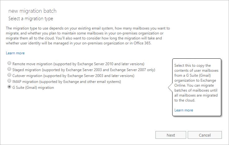 Perform a G Suite migration   Microsoft Docs