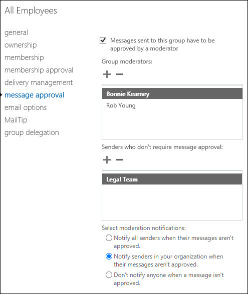 Common message approval scenarios microsoft docs message approval settings for a distribution group altavistaventures Choice Image