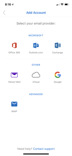 Using hybrid Modern Authentication with Outlook for iOS and Android