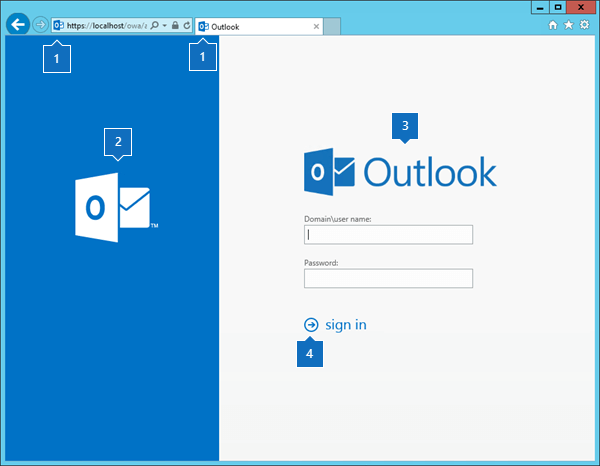 Outlook on the Web sign-in page with element call-outs