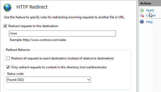 Configure http to https redirection for Outlook on the web in