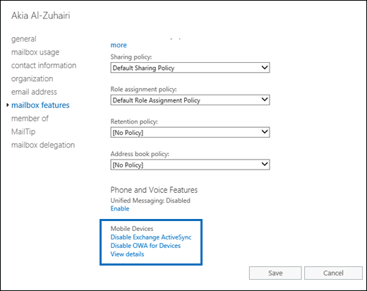 Enable or disable Exchange ActiveSync access to mailboxes in