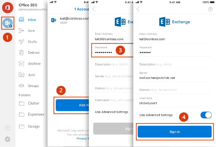 Account setup in Outlook for iOS and Android using Basic