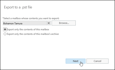Procedures for mailbox exports to  pst files in Exchange