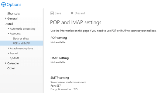 Configure authenticated SMTP settings for POP3 and IMAP4 clients in