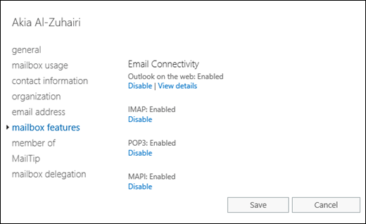 Enable or disable POP3 or IMAP4 access to mailboxes in