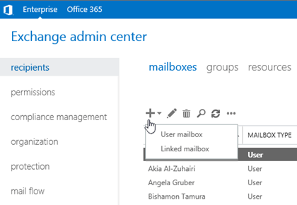 Create user mailboxes in Exchange Server, create Exchange mailbox