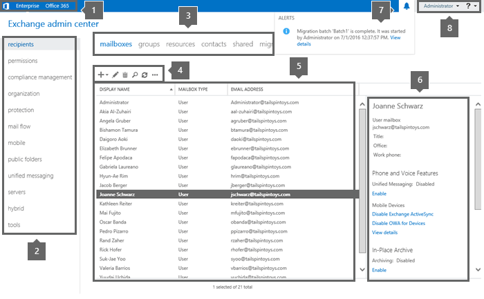 Exchange admin center in Exchange Server | Microsoft Docs