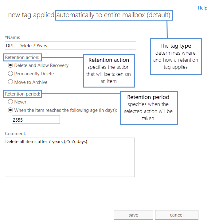 Retention tags and retention policies in Exchange Server | Microsoft