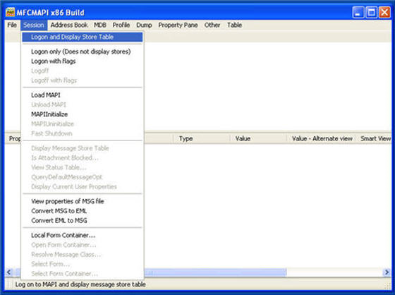 A screen shot of MFCMAPI x86 Build windows, showing the Session tab and Logon and Display Store Table option