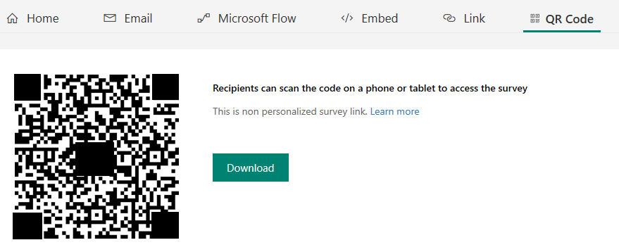 Send a survey by using QR code - Microsoft Forms Pro