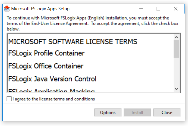 Screenshot of click through license