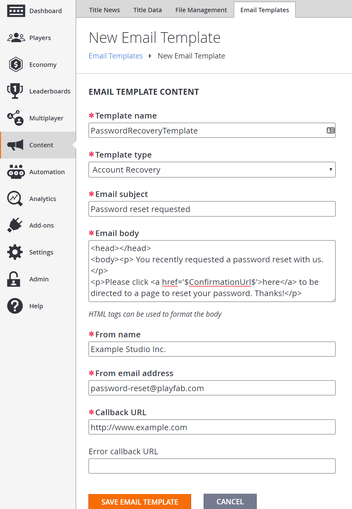 Using Email Templates to Send an Account Recovery Email - PlayFab