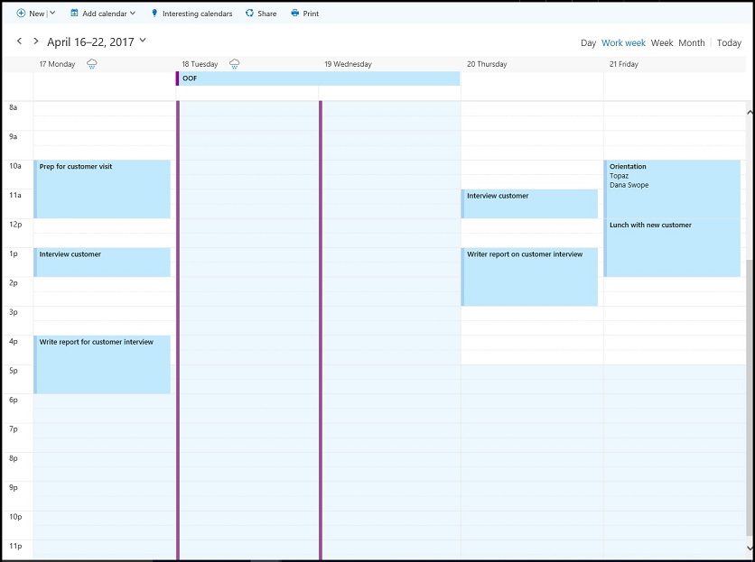 Find possible meeting times on the Outlook calendar