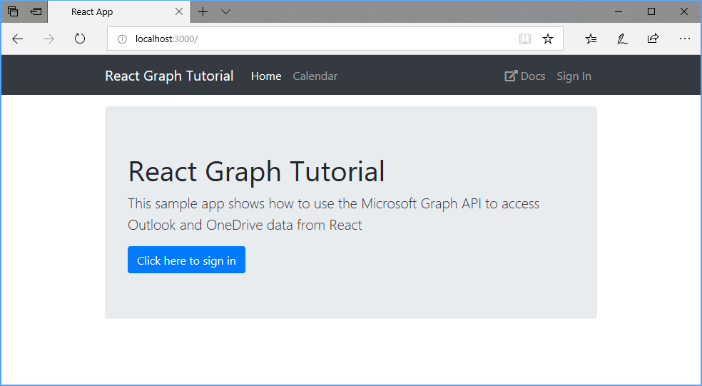 Build React single-page apps with Microsoft Graph