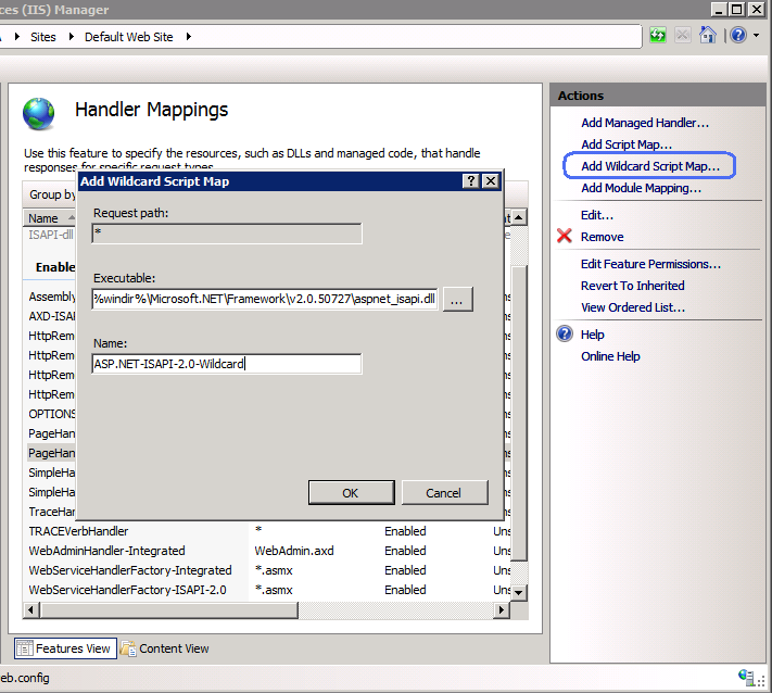 Wildcard script mapping and IIS 7 integrated pipeline