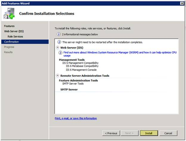Configuring Step 1: Install IIS and PHP