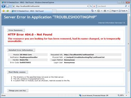 Improve PHP Error Messages in IIS 7 | Microsoft Docs