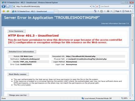 Improve PHP Error Messages in IIS 7 | Microsoft Docs