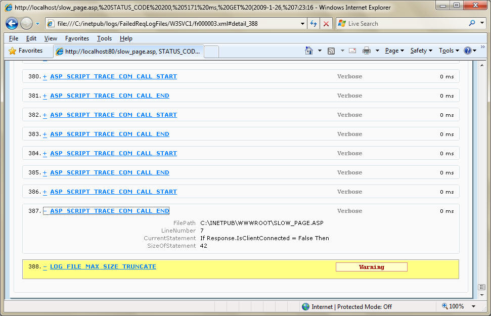 Using Failed Request Tracing to troubleshoot Classic ASP