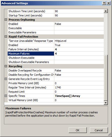 Failure Settings for an Application Pool <failure