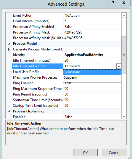 Process Model Settings for an Application Pool <processModel