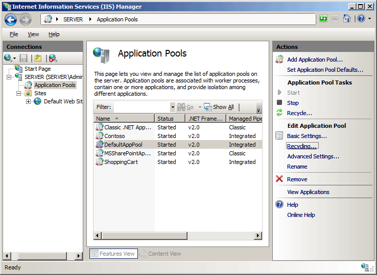 Recycling Settings For An Application Pool Microsoft Docs