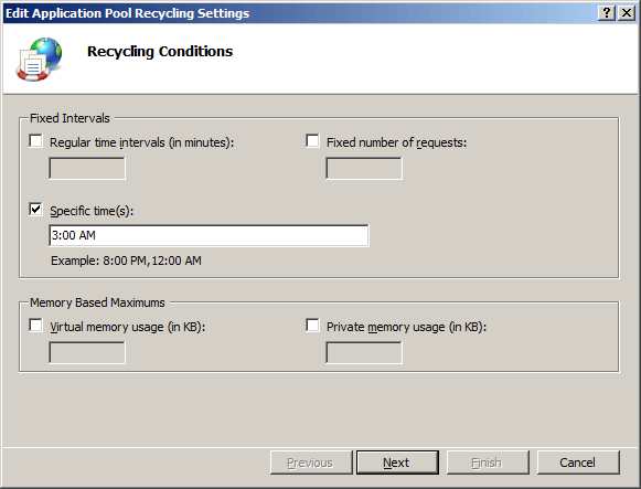 Recycling Settings for an Application Pool <recycling