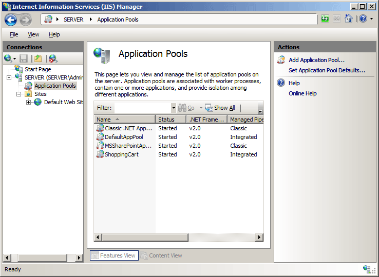 Application Pool Defaults <applicationPoolDefaults
