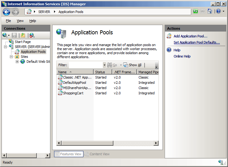 on the application pool defaults dialog box specify your desired options