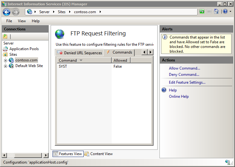 Adding FTP Command Filtering Entries <add> | Microsoft Docs