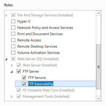 Ftp ssl client certificates sslclientcertificates microsoft docs to support aspmbership authentication or iis manager authentication for the ftp service you will need to select ftp extensibility in addition to ftp yelopaper Choice Image