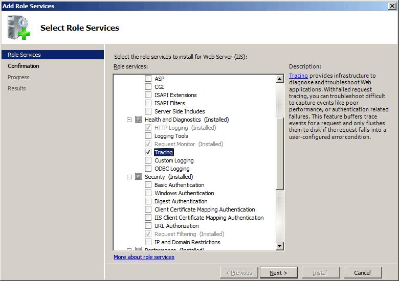 Trace failed requests logging for a site on the select role services page of the add role services wizard select tracing and then click next yelopaper Choice Image