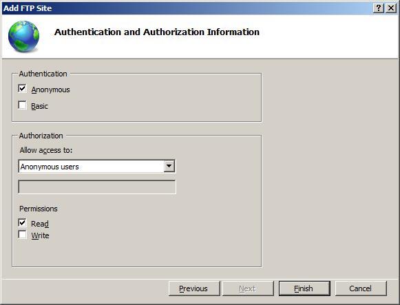 Default FTP Anonymous Authentication Settings