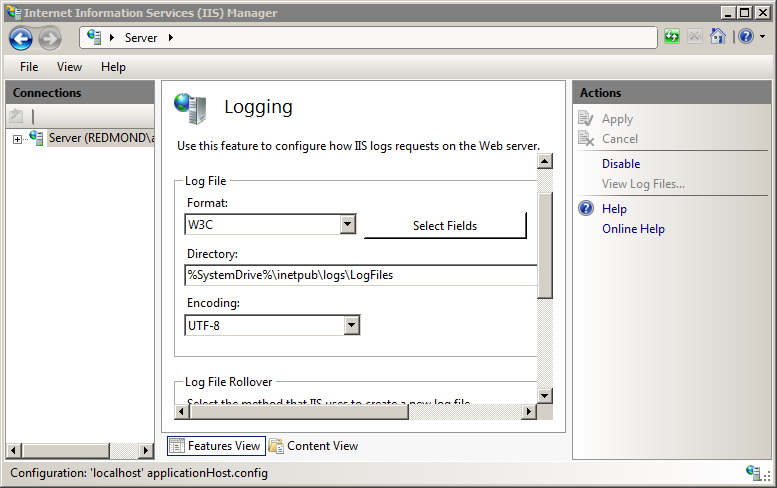 Default Log File Settings for Web Sites <logFile> | Microsoft Docs