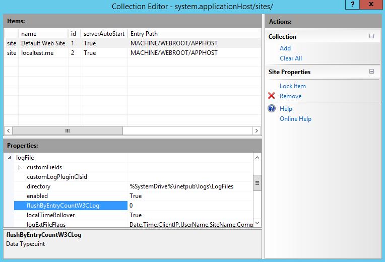 Default Log File Settings for Web Sites <logFile