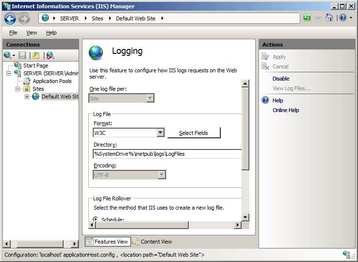 HTTP Logging <httpLogging> | Microsoft Docs