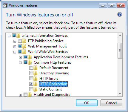 iis windows server 2016 redirect