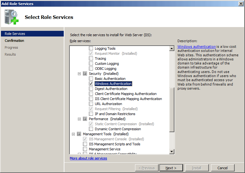 how to install iis management service in windows 7