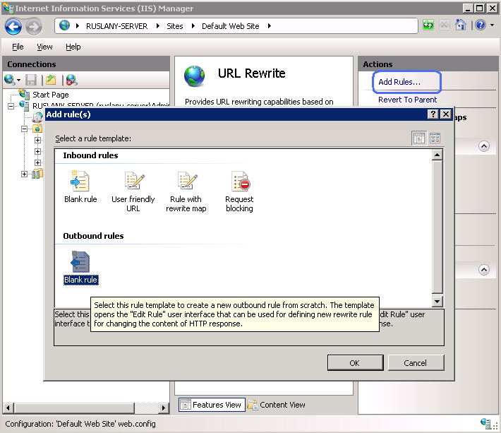 Setup IIS with URL Rewrite as a reverse proxy for real world apps.