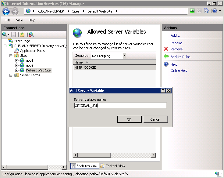 Setting HTTP request headers and IIS server variables | Microsoft Docs