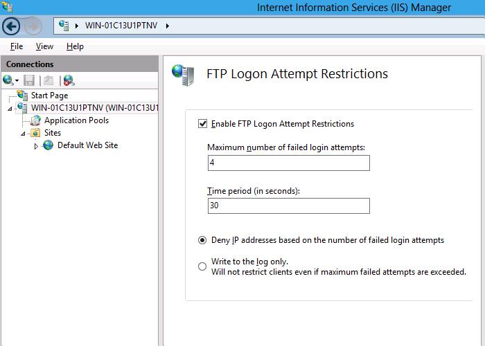 IIS 8 0 FTP Logon Attempt Restrictions | Microsoft Docs