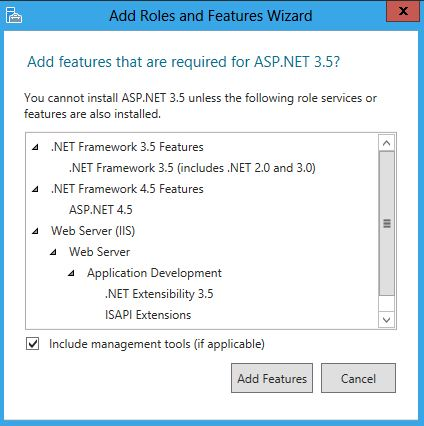 First Click The ASPNET 35 Check Box When You Do So An Additional Dialog Will Popup As Shown Below
